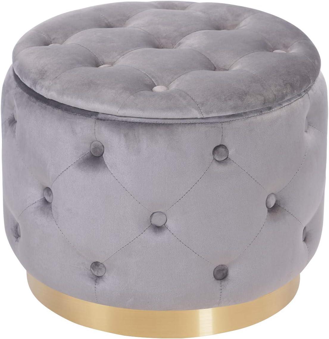 DEERUN Modern Industry No. 1 Velvet Tufted Year-end annual account Button Round Storage Ott Upholstered