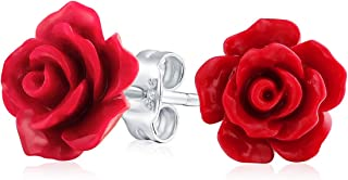 Romantic Delicate Floral Blooming 3D Carved 10MM Rose Flower Post Stud Earrings For Women Teen Lightweight More Colors