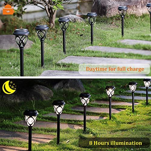 MAGGIFT 12 Pack Solar Powered Lights Outdoor Pathway Lights, Waterproof & No Wires Solar Garden Lights for Lawn, Patio, Landscape, Yard, Walkway, Deck, Driveway, Warm White