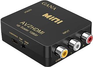 RCA to HDMI, AV to HDMI,GANA 1080P Mini RCA Composite CVBS AV to HDMI Video Audio Converter Adapter Supporting PAL/NTSC wi...