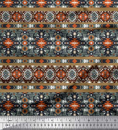 Soimoi Brown Cotton Cambric Fabric Aztec Southwestern Fabric Prints by Yard 42 Inch Wide
