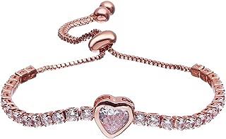 Fashion Adjustable Chain Bracelet for Women,Cubic Zirconia Rose Gold Gift Bracelet of Luxury Shining Jewelry
