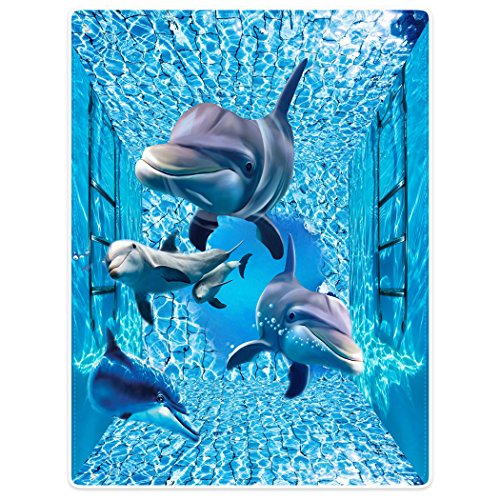 Violetpos Dick Decke Weich Wärme Gemütlich Flanell-Fleece Sofadecke Deckeldecke 3D Bilder Cute Delfine Wellen Tiere 150 x 200 cm