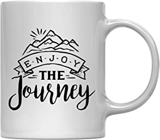 Andaz Press 11oz. Hot Chocolate Coffee Mug Gift, Enjoy The Journey, 1-Pack, Birthday Christmas Outdoors Adventure Camping Cup with Gift Box