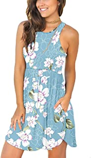 YUNDAI المرأة الصيف عارضة الأزهار تي شيرت البسيطة فستان الشمس فضفاض أرجوحة قصيرة اللباس مع جيوب