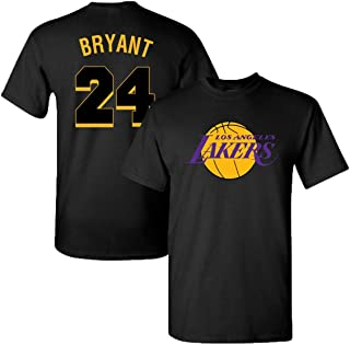 Finitee LA Lakers James, Bryant & Kuzma Black & White Jersey T-Shirt with Full Colors Digital Printed Front & Back.