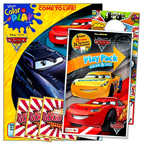 Disney Cars Lightning McQueen Coloring Book Set with Stickers and Crayons Bundle Includes Separately Licensed GWW Reward Stickers & Superhero Door Hanger for Kids