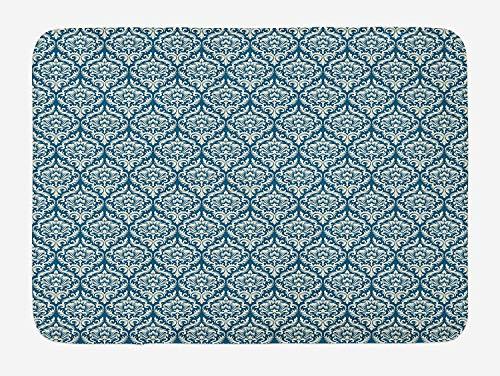 Casepillows Victoriaanse badmat, Modieuze moderne landelijke stijl Abstract geïllustreerde Oudheid Vintage, Pluche Badkamer Decor Mat met Non-slip Backing, 23,6 x 15,7 Inch, Navy Blue Cream