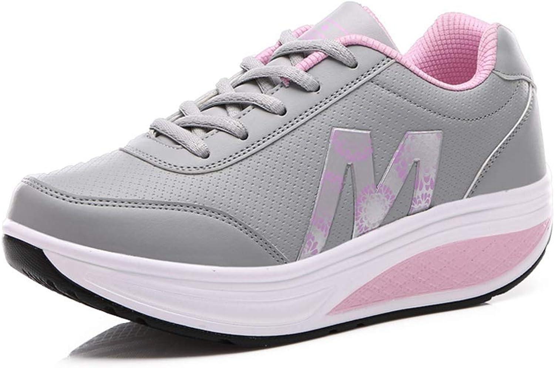 Gedigits Women Height Increasing Breathable Waterproof Wedges Sneakers PU Leather Casual Platform Slimming Swing shoes Red 5 M US