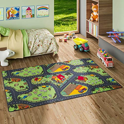 Snapstyle Kinder Spiel Teppich Bauernhof Grün in 24 Größen
