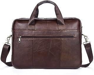 "Men's Accessories 14"" Laptop,Men's Leather Business Briefcase Tote Crossbody Shoulder Handbag Bag Brown Outdoor Recreation"