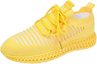 Yong Ding Women Breathable Mesh Sneakers Casual Hollow Out Running Shoes Ladies Elastic Flying Woven Trainers