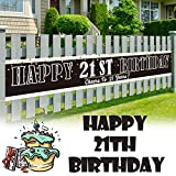 LINGPAR 9.8 x 1.6 ft Large Sign Happy 21st Birthday Banner - Cheers to 21 Years Old Decor