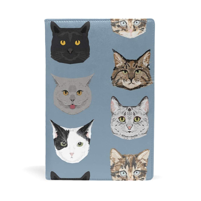 がんばり続ける葉犯人猫の顔 ブックカバー 文庫 a5 皮革 おしゃれ 文庫本カバー 資料 収納入れ オフィス用品 読書 雑貨 プレゼント耐久性に優れ