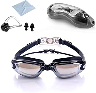RFWIN Swim Goggles, No Leaking Anti-Fog Indoor Outdoor Swimming Goggles with UV Protection Mirrored Lenses for Adult Women Men Youth Kids with Nose Clips Ear Plugs