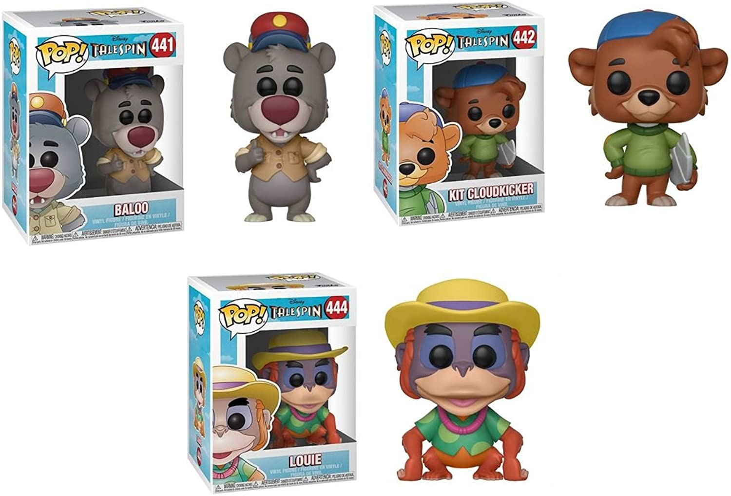 FunkoPOP TaleSpin  Baloo + Rebecca Cunningham + Louie – Stylized Vinyl Figure Bundle Set