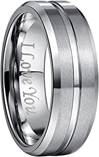 Bishilin Silver Plated Women Promise Band Wedding Rings Round Cut Cubic Zirconia Inlaid Size 6.5