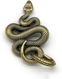 ZGPTX Brass Metal Snake Pendant Necklace Men Retro Handmade Fashion Key Chain Animal Cobra Keychain Multitool Handbag Hang...