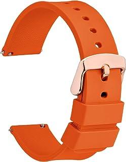 WOCCI Bracelets de Montres Silicone avec Boucle Dorée Rose, Libération Rapide, 14mm 16mm 18mm 20mm 22mm