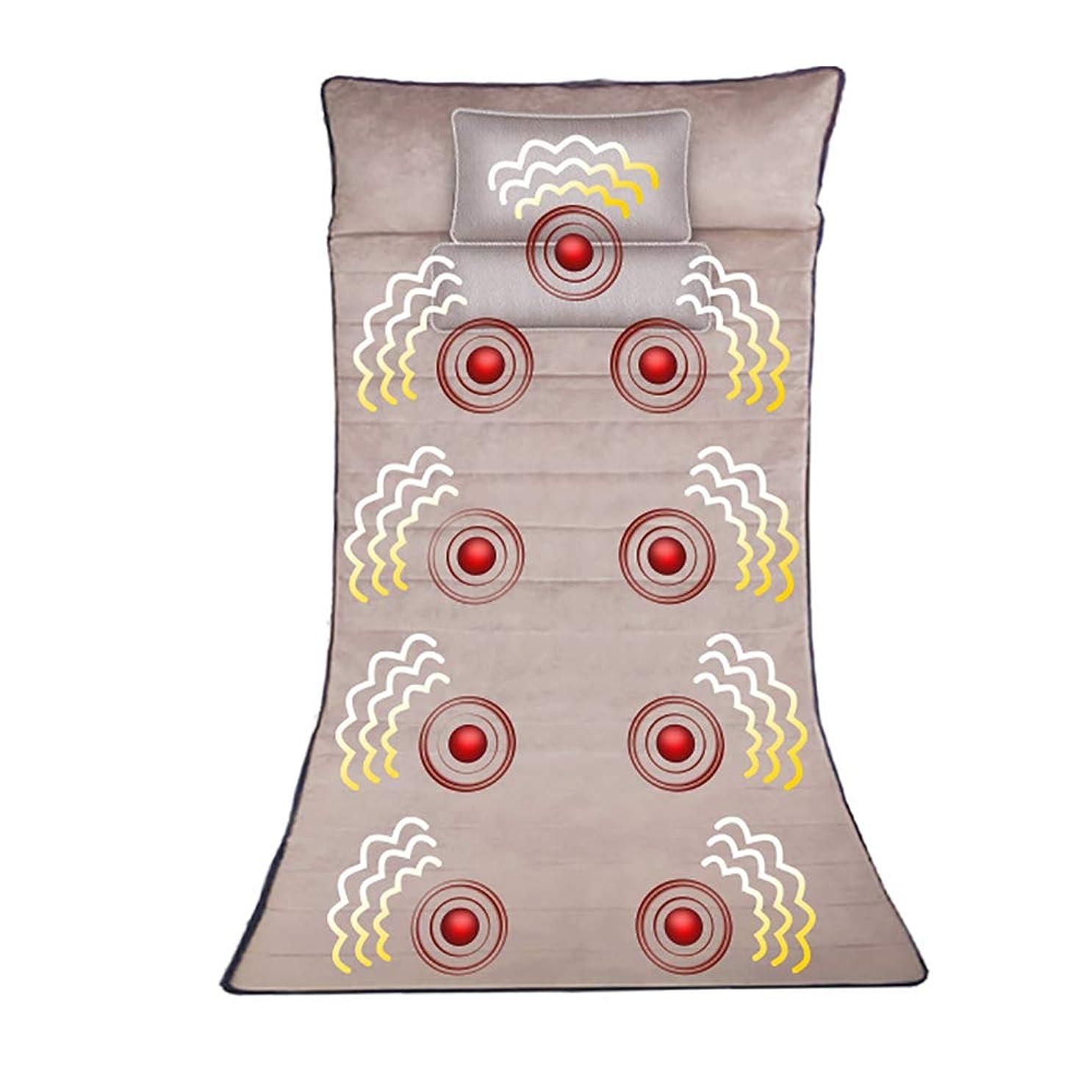 山フォアマン不可能な熱とマッサージマット - 9モーター振動マッサージマットレスパッド、背中の痛みを軽減、首と背中の全身マッサージ、腰部ふくらはぎ筋肉リラクゼーション