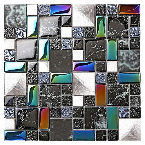 Home Decor Remodeling Glass Metal Tile Black Silver Iridescent Colors Backsplash Kitchen Wall Accent Tiles Wavy Design Bathroom Shower Border Art Mosaic TSTMGB026 (1 Sample 12x12 Inches)