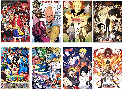 Toomilki Assorted Anime Posters Pack of Hit Anime One Piece, Naruto, Attack On Titan, One Punch Man, Theme Posters, 4 Kinds Set of 8 PCS, 16.5' x 11.5'