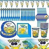 Decoración de la Fiesta de cumpleaños Infantil de Pokemon, Party Supplies Set, Artículos para Fiestas para Niños, Vajilla de Fiesta de cumpleaños para 10 Invitados (81 Piezas)
