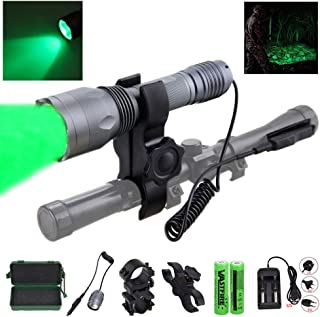 VASTFIRE 350 Yard CREE LED Green Flashlight Kit Hog Coyote Varmints Predator Long Range Night Hunting Light (Flashlight + Dual Pressure Switch + 2 X 18650 Batteries + Charger + Barrel + Scope Mounts)