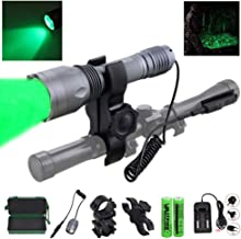 VASTFIRE 350 Yard CREE LED Green Flashlight Kit Hog Coyote Varmints Predator Long Range Night Hunting Light (Flashlight + Dual Pressure Switch + 2 X 18650 Batteries + Charger + Barrel + Scope Mounts)