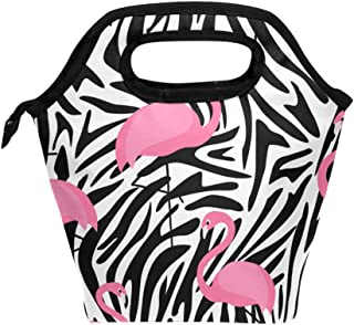 Mydaily Lunch Box Flamingo Zebra Stripes Reusable Insulated School Lunch Bag for Women Kids