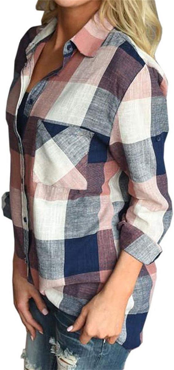 DAIMIDY Womens Long Sleeve Plaid Button Down Shirt