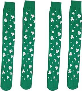 VALICLUD, 2 Pares St. Día de Patricio Calcetines por Encima de La Rodilla Medias de Pierna de Trébol Irlandés Calcetines de Trébol de La Suerte Día de San Patricio Vestido de Duende