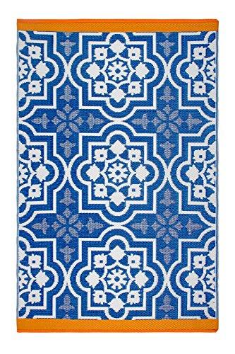 Fab Habitat Reversible Rugs   Indoor or Outdoor Use   Stain Resistant, Easy to Clean Weather Resistant Floor Mats   Puebla - Blue, 3  x 5
