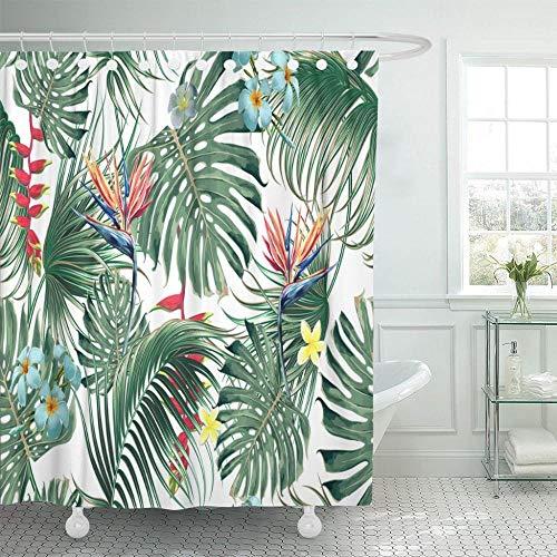 Cortinas de chuveiro havaianas tropicais florais com flores exóticas, folhas de palmeira, folha da selva, pássaro do paraíso, botânicas em 180 x 180 cm