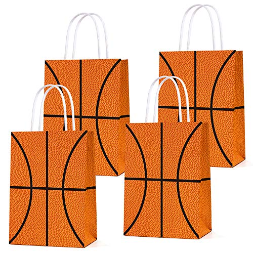 16 PCS Basketball Party Gift Bags for Basketball Party Supplies Birthday Decor Decorations, Party Favor Goody Treat Candy Bag Basketball Pattern Gift Bag, Birthday Party Supplies for Kid Adult