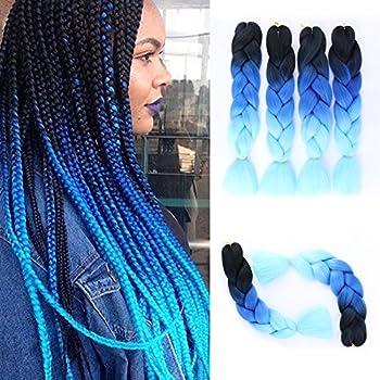 GX Beauty Ombre Blue Jumbo Braiding Hair Extensions 4Pcs/Lot 100g/pc Kanekalon Synthetic Fiber for Twist Brading Hair Black-Royal Blue-Light Blue