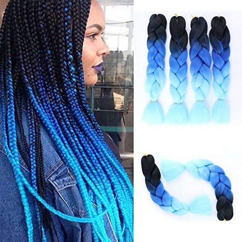 GX Beauty Ombre Blue Jumbo Braiding Hair Extensions 4Pcs/Lot 100g/pc Kanekalon Synthetic Fiber for Twist Brading Hair(Black-Royal Blue-Light Blue)