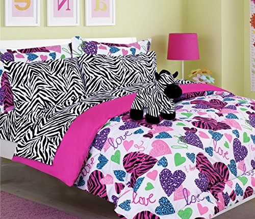 Girls Kids Bedding-Misty Zebra Tween Teen Dream Bed in A Bag. Queen Size Comforter Set, Sheet Set and Plush Toy Included-Love, Hearts-Hot Pink, Turquoise Blue, Purple, Black and White