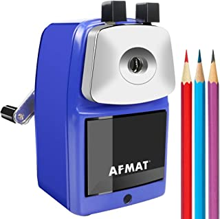 Pencil Sharpener Manual, Heavy Duty Pencil Sharpener, Metal Pencil Sharpener for Classroom, Sharpen 6000 Times, Helical Steel Blade, Not Easy to Break, Perfect for Kids, Blue