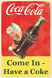 EffortLife Coca Cola Come in Have A Coke Retro Wall Decor Vintage Bar Signs Tin Sign 12 X 8 Inch
