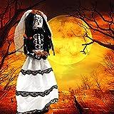 Halloween Nutcracker Hand-Painted Day of The Dead Skeleton Couple Decorative Figurine Dia De Los Muertos Decorations for Home, Skeleton Bride 14-inch