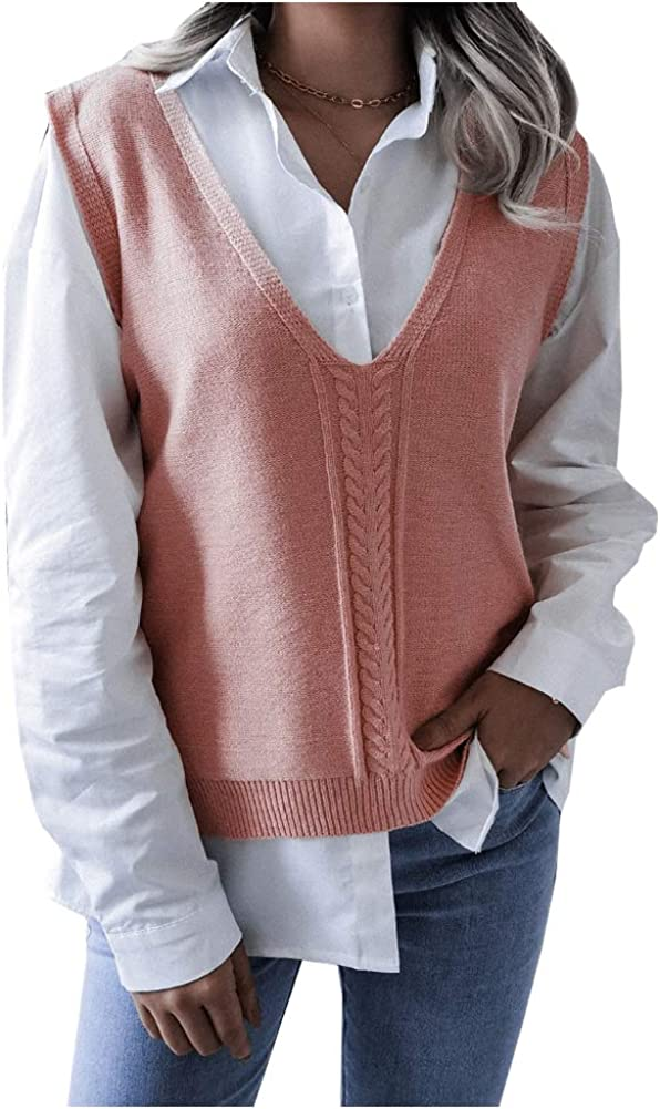 Ladyful Women's V Neck Sleeveless Knit Sweater Vest Pullover Top