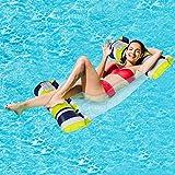Cama flotante Hamaca de agua hinchable tumbona cómoda portátil flotador para piscina playa flotador para adultos y niños (verde 2)
