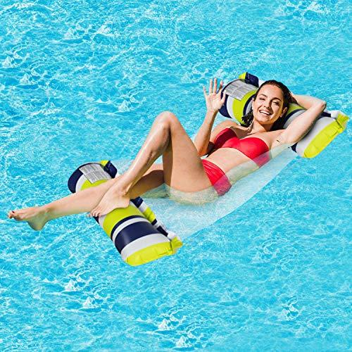 Cama flotante, Hamaca de agua, hinchable, tumbona de salón cómoda portátil, flotador para piscina, playa, para adultos y niños