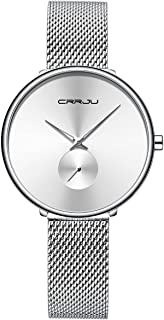 Fashion Minimalist Women's Watches Stainless Steel Mesh Watch, Ultra Thin Waterproof Quartz Analog Wristwatch for Ladies