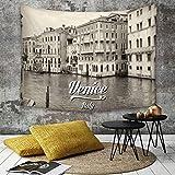 Yaoni Tapestry Pared paño Mantel Toalla de Playa,Venecia, Foto Antigua de la Ciudad Italiana de...