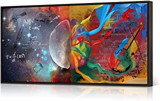 HOMEOART Inspirational Wall Art Left and Right Brain Galaxy Pictures Painting Giclee Prints E=MC2 Abstract Colorful Science Poster Modern Framed Artwork Office Decor(Floater Frame 20x36inch)