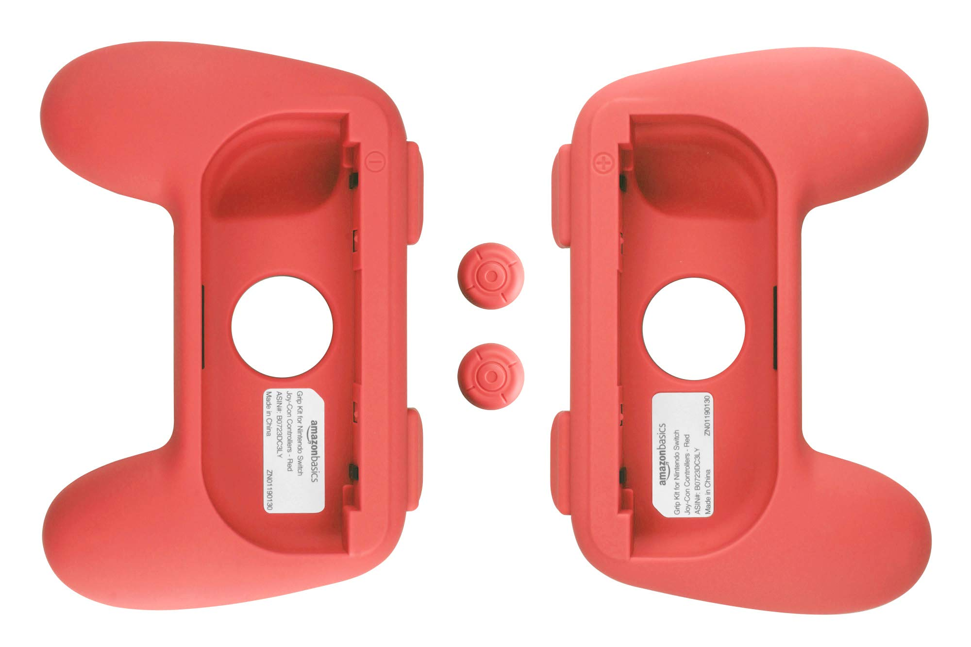 Amazon Basics Grip Kit for Nintendo Switch Joy-Con Controllers - Red