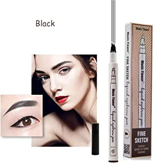 Eyebrow Tattoo Pen-LilyAngel Waterproof Microblading Eyebrow Pencil with a Micro-Fork Tip Applicator Creates Natural Looking Brows Effortlessly(Black,1pc/pack)