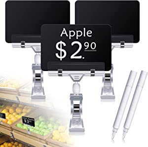 10 Pcs Mini Chalkboard Signs for Food, Food Labels for Party Buffet Blackboard Double Sided Reusable Message Board with 10 Rotatable Sign Clips and 2 Erasable Pen for Memo, Note Taking, Party Decor